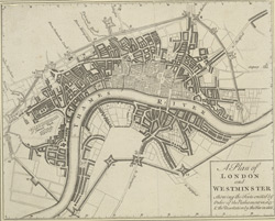 A Plan of LONDON and WESTMINSTER. Shewing the Forts erected by Order of the Parliament in 1643 & the Desolation by the Fire in 1666